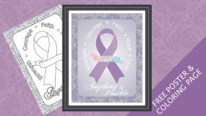 FREE Cancer Awareness Ribbon Poster and Coloring Page Printable Download
